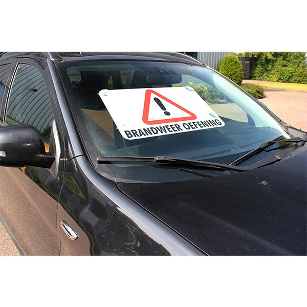 028-012-003 Bord Brandweeroefening Voorruit Auto