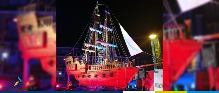 """Schip Ahoy Zele """"Piratenstad"""" tijdens Roparun"""